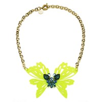 Matthew Williamson Neon Butterfly Necklace Yellow