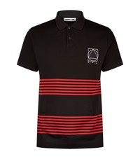 Mcq By Alexander Mcqueen Stripe Patch Polo Shirt Male Black