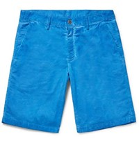Massimo Alba Slim Fit Watercolour Dyed Cotton Corduroy Shorts Blue