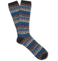 Anonymous Ism Fair Isle Knitted Socks Charcoal