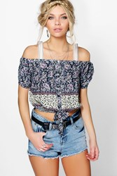 Boohoo Tie Front Paisley Print Open Shoulder Top Multi