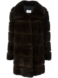 Yves Salomon Fox Fur Coat Brown