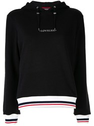 Loveless Logo Drawstring Hoodie Black