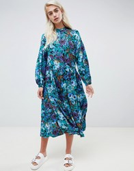 Moss Copenhagen Midi Smock Dress With Button Front In Bloom Floral Print Swedish Blue Multi