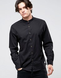 Esprit Grandad Shirt In Slim Fit With Contrast Turnup Sleeves 001 Black