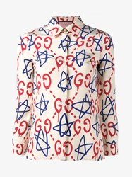 Gucci Trevor Star And Logo Printed Silk Shirt White Blue Red Pearl