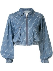 Ground Zero Cropped Denim Jacket Blue
