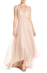 Women's Monique Lhuillier Bridesmaids Pleat Tulle V Neck High Low Gown