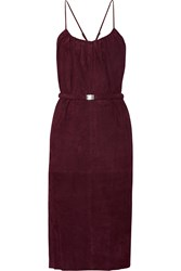Halston Belted Suede Midi Dress Red