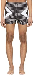 Neil Barrett Black And White Modernist Striped Swim Shorts