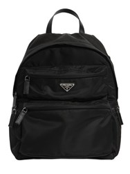 Prada Logo Nylon Canvas Backpack Black