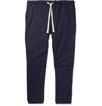 Beams Plus Slim Fit Tapered Cotton Blend Twill Drawstring Trousers Blue