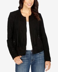Lucky Brand Suede Fringe Jacket Lucky Black