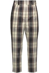 Michael Kors Collection Checked Cotton Canvas Tapered Pants Multi
