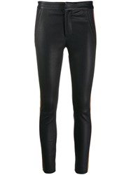 Drome Contrast Band Skinny Leather Trousers Blue