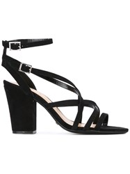 Schutz Strappy Block Heel Sandals Black