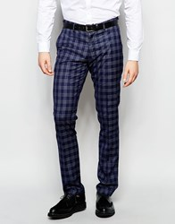 Vito Super Skinny Check Suit Trousers With Stretch Navy