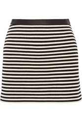 Alexander Wang T By Leather Trimmed Striped Woven Mini Skirt Black
