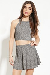 Forever 21 Marled Knit Crop Top Grey Black