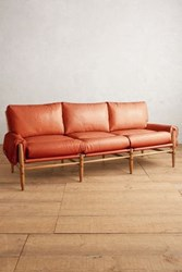 Anthropologie Premium Leather Rhys Sofa Coral