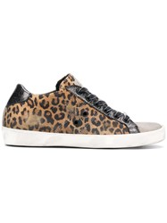 Leather Crown Warchive Leopard Print Sneakers Brown