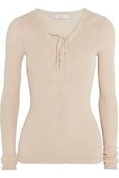 Sandro Sacha Lace Up Ribbed Knit Sweater Neutral