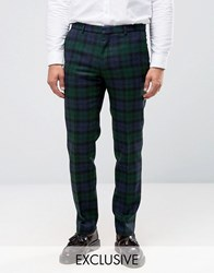 Heart And Dagger Woven In England Skinny Trousers In Tartan 100 Wool Navy