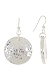 Simon Sebbag Sterling Silver Round Textured Disc Drop Earrings Metallic