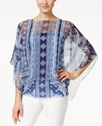 Styleandco. Style And Co. Bandana Print Sheer Poncho Only At Macy's Americana Blue