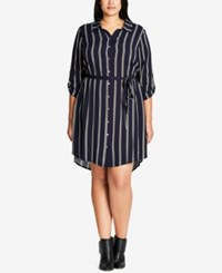 City Chic Plus Size Trendy Vintage Striped Tunic Dress French Navy