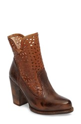 Bed Stu Women's Irma Perforated Boot Teak Tan Rustic Rust Leather