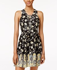 American Rag Printed Lace Up Sundress Only At Macy's Black Combo