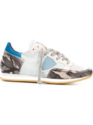 Philippe Model Camouflage Panelled Sneakers Blue