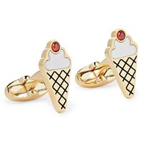 Paul Smith Gold Tone Enamel And Mother Of Pearl Cufflinks Gold