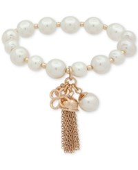 Anne Klein Gold Tone Imitation Pearl And Chain Tassel Stretch Bracelet