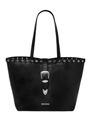 Dsquared Faux Leather Tote Bag W Buckle Black