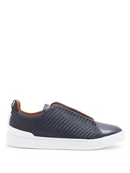 Ermenegildo Zegna Triple Stitch Low Top Leather Trainers Navy
