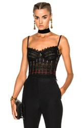 Alexander Mcqueen Lace Bustier In Black Floral Green Black Floral Green
