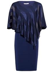 Gina Bacconi Soho Crepe Dress And Stripe Cape Navy