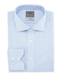 Thomas Dean Non Iron Check Print Dress Shirt Light Blue