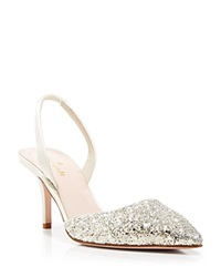 Kate Spade New York Pointed Toe Slingback Evening Pumps Jeanette Mid Heel Silver Gray