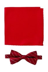 Nicole Miller Silk Striped Bow Tie And Pocket Square Boxed Set Red