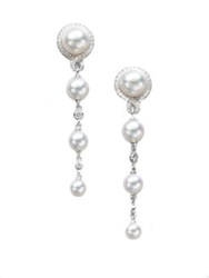 Mikimoto Petite Soleil 4Mm 7Mm White Cultured Akoya Pearl Diamond And 18K White Gold Drop Earrings Pearl White Gold