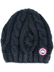 Canada Goose Chunky Cable Knit Beanie Hat Blue