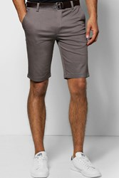 Boohoo Skinny Chino Shorts With Belt Gun Metal