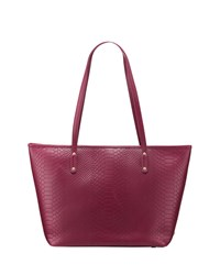 Gigi New York Taylor Embossed Python Leather Tote Bag Mulberry