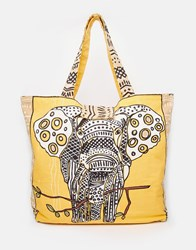 Echo Elephant Print Beach Tote Bag Khaki Yellow