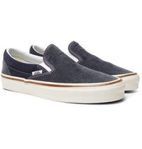 Vans Og 98 Dx Cotton Corduroy And Suede Slip On Sneakers Navy