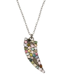 Bavna Multicolored Tourmaline And Diamond Horn Pendant Necklace Women's