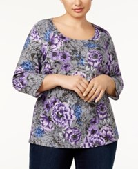 Karen Scott Plus Size Floral Print 3 4 Sleeve T Shirt Created For Macy's Charcoal